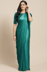 Janasya Women's Teal Poly Chiffon Striped Saree With Blouse Piece(SAR049)