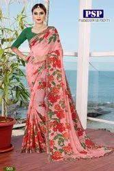 Pure Chiffon Weightless Party Wear Saree, With Blouse Piece