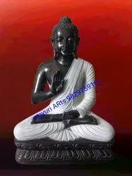 4.5 Feet Black Stone Buddha Statue
