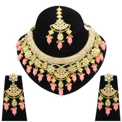 Acrylic Hathi Dant Baby Pink Jewelry Set