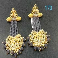 Black And Gold Western Kundan Earring Set For Women And Girl Bijoux
