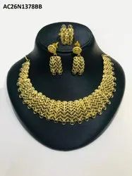 Beautiful Indian Jewelry Gold Color  Traditional Necklace With Earrings & Ring