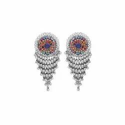 Alloy White Oxidised Earrings With Embroidery