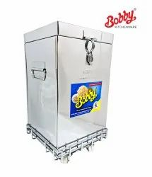 Bobby Brand 35 Kg Capacity Stainless Steel Rice Wheat Container With S.S. Trolley