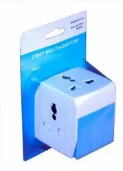 White ABS Plastic 3 Way Multi Adaptor With Individual Switch, For Electronic Instruments