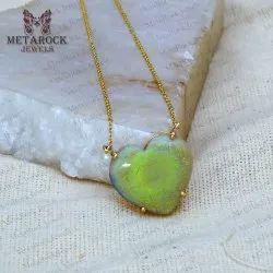 Natural Opal Gemstone 14K Gold Necklace