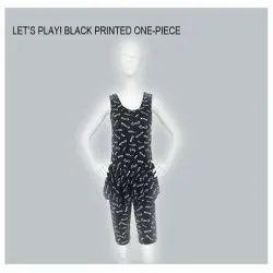 Black Printed One Piece Swim Suit