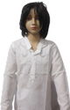 White Lucknowi Pc Fabric Net Kurta With Cotton Pajama