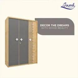 3 Doors Antique Wooden Wardrobe, With Locker