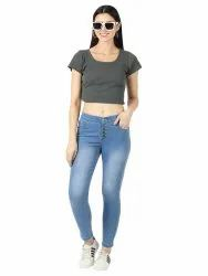 Casual Wear Embroidery Ladies High Rise Denim Jeans, Machine wash