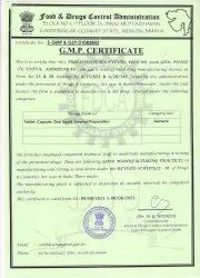 GMP Certificate for Alopathic Division