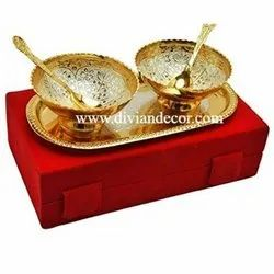 Gold Brass Bowl With Spoon, For Gift