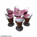 Ice Cream Shape - Set Of 1 Table And 6 Chair In Pink Shade