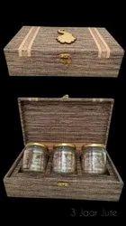 3 Jar Jute -Dry Fruit Packaging Box
