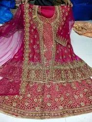 Designer Pink Embroidered Hand Work Lehenga Kameez