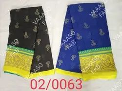 Printed Cotton Saree, With Blouse