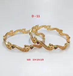 Golden Traditional Metal Bangle, Size: 2-4 2-6 2-8, Box