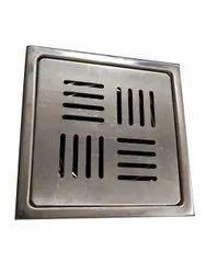 SS304 5X5inch Devam's Stainless Steel Square Lock Floor Drain CP Jali, Mirror Finish
