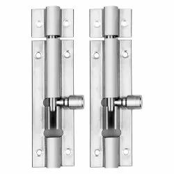 Atlantic Modern Plain Tower Bolt 4 Inch (Stainless Steel, Two Tone Silver)