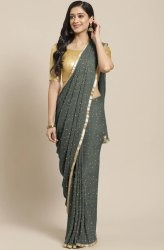 Janasya Women's Grey Poly Georgette Printed Saree With Blouse Piece(SAR043)