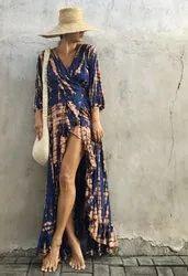Women Wrap Dress Maxi Boho Casual Sundress V-neck Tie Dye