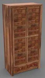 2 Doors Brown Wooden Wardrobe, With Locker