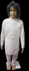 Lucknowi Kids White Cotton Kurta Pajama