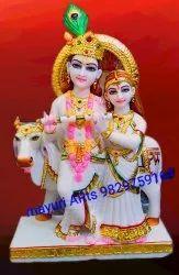 Radha Krishna White Marble Statue With Cow