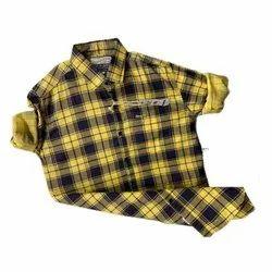 Yellow And Black Collar Neck Men Casual Wear Check Shirt, Handwash