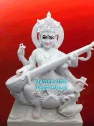 Marble Saraswati Maa Statue With Veena