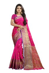 Party Wear Weaving Banarasi Cotton Saree, With Blouse, 6.3 m