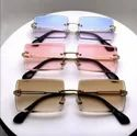 Vintage Rimless Sunglasses Rectangle Frameless Candy Color Glasses Women
