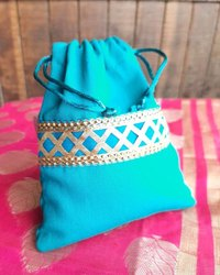 Rope Handle Blue Potli Bag With Emrodary - Shagun Potli, Ideal For Wedding Return Gifts