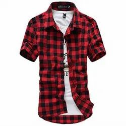 Cotton Red With Black Check Casual Shirt