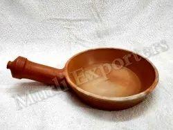MURLI EXPORTES Brown Earthen Handmade Fry Pan 8 Inch, For Restaurant