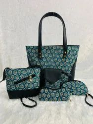 Unisex 5 Piece Combo Side Leather Bags With Kantha Work