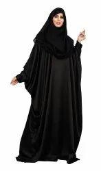 Plain Zoom Fabric Crush Style Women Free Size Abaya With Scarf