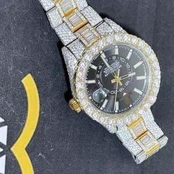 Moissanite Studded Iced Out Watch, EF/VVS Diamond, Yellow/White Two Tone Wrist Watch