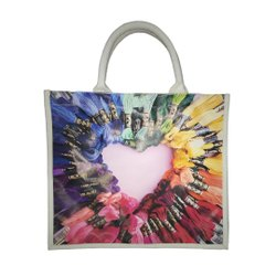 Cotton Multicolor Colorful Art Printed Digital Tote Bag, Size: Custom Size