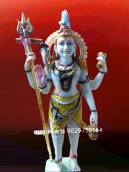 3 Feet Marble Lord Shiva Statue With Trishul