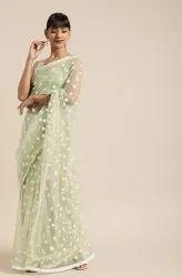 Janasya Women's Green Net Embroidered Saree With Blouse Piece(SAR031)