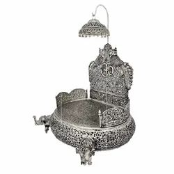 Metal Silver Plated God Singhasan For Tample