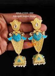 Golden Copper Designer Amrapali Earring For Women Jewellery, Size: 11 Cm