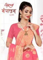 Festive wear banarasi cotton silk saree