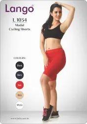 Women Plain Cycling Shorts Red