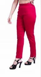Maroon Mid Waist SIDE ZIP WOMEN COTTON STRETCHABLE PANT-VFM1002, Casual Wear