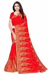 Janasya Women's Red Poly Georgette Embellished Saree With Blouse Piece(SAR085)