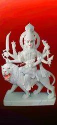 Lion Sitting Durga Maa Marble Statue