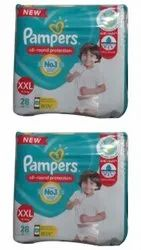 Cotton Disposable Pampers XXL 28 Pants Baby Diaper, Age Group: 1-2 Years