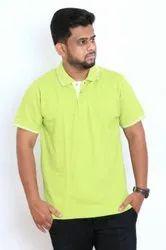 Plain Large Mens Light Green Collar Cotton T Shirt